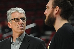TRIBUNE FILE PHOTO: JOSH KULLA - Former center Frank Brickowski (left), who lives in Lake Oswego, stays in the game as a regional director for the NBA Players Association. At Trail Blazers games, he chats with current players, such as Spencer Hawes of the Milwaukee Bucks.