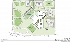 COURTESY OF  WALKER MACY/DOWA-IBI - Here's a conceptual site plan of what the footprint of the new high school will look like.