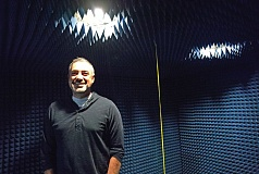 PAMPLIN MEDIA GROUP: JAIME VALDEZ - Allion USA president Ryan Hoppes in an anechoic RF chamber, of which the company now has 30. Allion buys them used from companies such as Nokia and ships them to its bigger test facility near Tansabourne. Hoppes has his engineers work closely with product developers, offering solutions rather than just issuing pass and fail grades like other testing companies. As a result his team works closely with innovators such as Apple, Google, Amazon and Microsoft, many of whom want secrecy at this house in an undisclosed suburban Beaverton location.