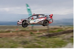 SUBARU RALLY TEAM USA - Travis Pastrana gets airborne before winning the 2017 Oregon Trail Rally last weekend.