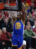 TRIBUNE PHOTO: JOSH KULLA - Kevin Durant has an easy dunk Monday night against theTrail Blazers.