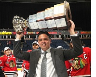 TRIBUNE FILE PHOTO - Coach Travis Green hoists the Ed Chynoweth Cup in 2013 after the Portland Winterhawks won the Western Hockey League title at Edmonton.,