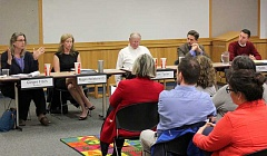 SPOKESMAN PHOTOS: ANDREW KILSTROM - West Linn-Wilsonville School Board candidates gathered at the Wilsonville Library Wednesday, April 19 for a candidate forum.