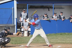 WILL DENNER/MADRAS PIONEER - Madras junior Tyler Lockey (3), playing a game against Pleasant Hill earlier this season, had a whopping 12 RBIs combined in two games against Corbett last Friday and Monday, and also fanned 13 batters on the mound.
