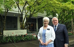 STAFF PHOTOS: VERN UYETAKE  - Elder Lee Barney and his wife, Ilene Barney are the directors at the Portland Oregon Temple Visitor Center, now celebrating its fifth year.