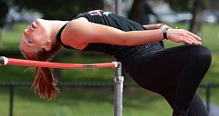 PAMPLIN MEDIA GROUP: DAVID BALL - High jumper Sydney Denham is one of the top competitors on a deep Lincoln Cardinals track and field team.