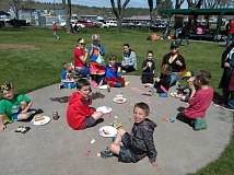 SUBMITTED PHOTO - Kids and adults celebrate following the cleanup with a free picnic at Sahalee Park.