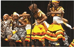 A dance performed by African children in a performance of the Imani Milele Children's Choir.