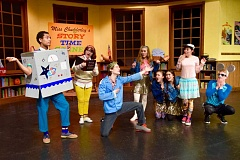 PHOTO BY KARMIN TOMLINSON - Cast members of 'Miss Chudderley's Fairy Tales with a Twist' include: (left to right) Elijah Roach, Maddy Moyes, Jaedon Lewis, Alexis Davis, Makenna Palumbo, Ayumi Stewart, Alanis Graham and Gavin Seifert.