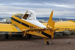HOLLY M. GILL - A Thrush cropduster plane was severely damaged by the hail storm that hit the Madras airport around 11 p.m. May 4. The storm broke at least 200 windows in the historical hangars, and damaged siding, roofs, and numerous aircraft with golf-ball size hail.