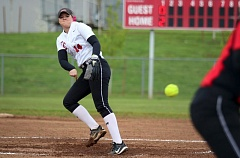 PMG PHOTO: JIM BESEDA - Oregon City pitcher Morgan Hornback and the Pioneers are the newly-minted top Class 6A softball team in the state this week, moving past Jesuit to become No. 1.