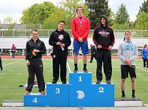 REVIEW/NEWS PHOTO: JIM BESEDA - La Salle Prep's Sean Hamel won the Northwest Oregon Conference boys' javelin district title with a throw of 175-5 during Friday's finals at Hare Field in Hillsboro.
