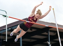 REVIEW/NEWS PHOTO: JIM BESEDA - Milwaukie's Shelby Jarvis won the girls' pole vault with a mark of 10-6 during Friday's Northwest Oregon Conference district championships at Hare Field in Hillsboro.