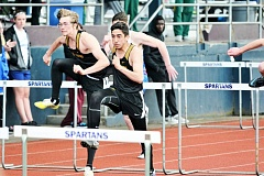 SPOTLIGHT PHOTO: JAKE MCNEAL  - Lions junior Dakotah Camberg, left, won the Northwest Oregon Conference boys' high jump championship at 6 feet, 4 inches, and junior Daniel Lujano was a runner-up in both the 110-meter hurdles (a personal-best 15.19 seconds to La Salle Prep senior Jordan Gloden's 14.99) and the triple jump (44-7 to Sandy junior Maxwell Shannon's 44-9) May 11-12 at Hare Field in Hillsboro.