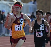 PAMPLIN MEDIA GROUP: DAVID BALL - Central Catholic High senior Michael McCausland races to first place in the 1,500 meters at the Mt. Hood Conference district meet at Gresham.