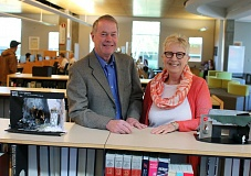 PHOTO COURTESY OF JAMES G. HILL, PCC - Tom and Chris Neilsen of Portland stand in the library at PCC's Sylvania Campus.