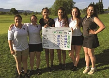 COURTESY OF NEIL WILHELM - From left, Maddie Castro, Haley Elsasser, Alexus Charitar, Michelle Torres, Bailey Woolley and Domnika Krivoshein became the first girls golf team at Woodburn High School to qualify for the state championship tournament.