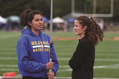 PHIL HAWKINS - Gervais junior Alyssa Ventura (left) and Natali Herinckx placed fourth in the javelin and 800, respectively, at the 2017 PacWest Conference track and field championships on Thursday and Friday.