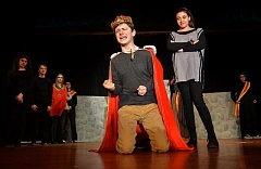 REVIEW PHOTO: VERN UYETAKE - Take cover, because it's time for a 'Shakesplosion!!!' at Lakeridge Junior High, a Shakespeare send-up that opens this Thursday, May 18, at the school. Ian Proctor, left, and Luzahn Chandler run through a scene.