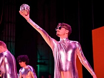 COURTESY TUALATIN HIGH SCHOOL - Drew Havnaer in 'Space Apples,' an absurdist scene in 'Hoopla.'