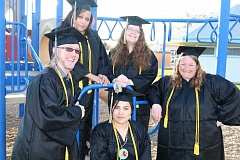 SUBMITTED PHOTO - This year's program graduates are, back row from left, Kim Sumner, and Kaycee Robinson, who was from Crook County; front, from left, Scott Waite, Krysten Saldana and Julie Mitchell.