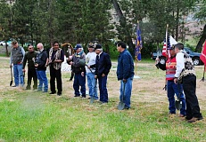 BILL VOLLMER - With Native ceremony, amid the spirit of honor and valor, ground was broken Saturday on the Warm Springs Veterans Memorial Park, to be built upon the Museum of Warm Springs grounds. The project was initiatied and has been driven by the Warm Springs-based Elliot Palmer Post 4217 of the Veterans of Foreign Wars.