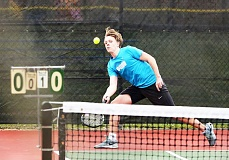 SPOTLIGHT PHOTO: JAKE MCNEAL - Lions senior Carsten Gilje was scheduled to open the Class 5A boys' tennis state singles championships against Hood River Valley junior Sawyer Bogard in the first round on Thursday at the Portland Tennis Center.