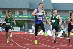 REVIEW/NEWS PHOTO: JIM BESEDA - North Clackamas Christian's Ethan Kassebaum won the boys' 200-meter dash in 22.27 seconds during Friday's finals of the OSAA Class 1A track and field championships at Hayward Field.