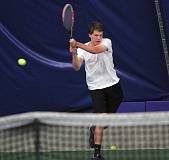 TIDINGS FILE PHOTO - West Linn senior Sam Watt (shown here at district) was one of three singles players who helped the Lions place fifth at last week's Class 6A state tournament.