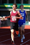 TRIBUNE PHOTO: JONATHAN HOUSE - Henry Mong of Franklin High exults as he reaches the finish line ahead of Grant's Philip Quinton to win the state 800-meters title at Hayward Field.