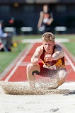 TRIBUNE PHOTO: JONATHAN HOUSE - Parker Mann lands a triple jump for Central Catholic.