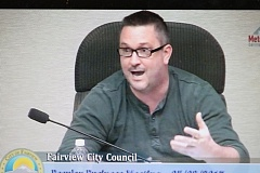 METRO EAST SCREENSHOT - Fairview City Councilor Brian Cooper responds to charges during a city council meeting on May 3.