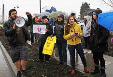 INDEPENDENT FILE PHOTO - In March, protesters rallied against recent Immigrations and Customs Enforcement activity in Woodburn. The inclusive city resolution passed by the Woodburn City Council on May 22  focuses on the city's commitment to respecting all residents and does not include any intention to resist immigration enforcement.
