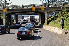 OUTLOOK PHOTO: ZANE SPARLING - Traffic passes beneath the east and westbound Interstate 84 bridges crossing Graham Road in Troutdale. A replacement project will rebuild both bridges, plus adding sidewalks and a bike lane on Graham.