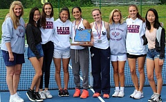 COURTESY PHOTO: KATHERINE CHRISTENSON - The Lake Oswego girls tennis team was all smiles after winning its second straight Class 6A state championship on Saturday at the Babette Horenstein Tennis Center in Beaverton.