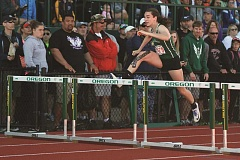 PHIL HAWKINS - North Marion sophomore Emily Scanlan prepares to clear the final hurdle on her way to winning the 2017 state title in the 4A 100-meter hurdles race on Saturday at the University of Oregon.