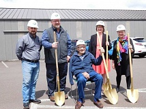 COURTESY PHOTO: JOLYNN BECKER - (Left to right) Community room project manager Rick McMurry, Banks Mayor Pete Edison, Don Moore, Banks City Councilor and President of the Friends of the Banks Public Library Stephanie Jones and Banks Public Library Director Denise Holmes participated in a groundbreaking ceremony Saturday for the librarys new community room.