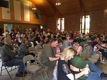 COURTESY PHOTO - More than 150 people attended the open house Saturday, May 20, at Sonrise Churchs new location, the former First Baptist Church of Forest Grove.