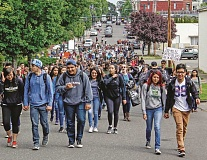 NEWS-TIMES FILE PHOTO - Saturday, May 20, marked the anniversary of last years walkout, when more than 600 of Forest Grove High Schools 2,000 students left the campus in protest over racial and political tensions.