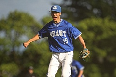 TRIBUNE PHOTO: JAIME VALDEZ - Grant High pitcher Kenji Lamdin reacts after the final out in Wednesday's 5-1 home victory over Wilson in the second round of the OSAA baseball playoffs.