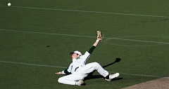 TIDINGS PHOTO: MILES VANCE - West Linn shortstop Jonathon Kelly makes a diving swipe at a ball during his team's 10-1 win over McNary in the second round of the Class 6A state playoffs at West Linn High School.