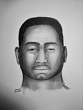 A forensic sketch of one of the suspects in the homicide case.