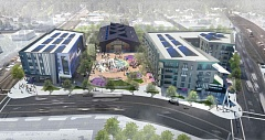 COURTESY RENDERING - A computer-created image shows an overhead view of the proposed Rockwood Rising development.