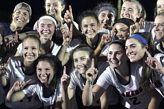 REVIEW PHOTO: MILES VANCE - The Lake Oswego girls lacrosse team left little doubt as to who was number one after the Lakers beat Oregon Episcopal School 13-3 in the Oregon Girls Lacrosse Association state championship game at Wilsonville High School on Wednesday.