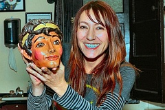 DAVID F. ASHTON - Emily Alexander, second generation puppeteer with Tears of Joy Theatre holds the head of the star of The Adventures of Perseus, a show saved from destruction by the Portland Puppet Museum.
