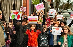 DAVID F. ASHTON - The Llewellyn Elementary School fifth grade students of Marty Crousers class show some of the Valentine cards theyd made for Westmoreland businesses.