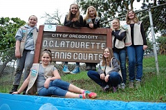 PHOTO BY RAYMOND RENDLEMAN - Members of Oregon City Girl Scout Troop 45064 include Springwater Environmental Sciences School students (standing, from left) Kate Beuhring, Lucy McKay, Briley Schneider, Stella Beatty and Paige Norton, and Ogden middle-schoolers (sitting, from left) Taryn Gehrke and Ella Rumpca.