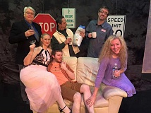 COURTESY PHOTO - Bryan Luttrell (Walter Flood), Karen Huckfeldt (Kenni Flood), Carl Dahlquist (Chris Foster), Paul Roder (Steve Singletary), David Roberts (Joe Foster) and Patti Speight (Becky Foster) star in Beckys New Car, premiering at HART Theatre on Friday, March 18 at 7:30 p.m.