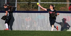 TIMES PHOTO: MILES VANCE - Westview's Emma Williams throws the ball back to the infield during her team's 12-4 non-league win over Gresham at Westview on Monday.