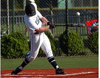 DAN BROOD - Tigard junior Connor Wojahn gets his bat on the ball for an RBI double in the fourth inning of Friday's game. The Tigers beat Lakeridge 1-0.